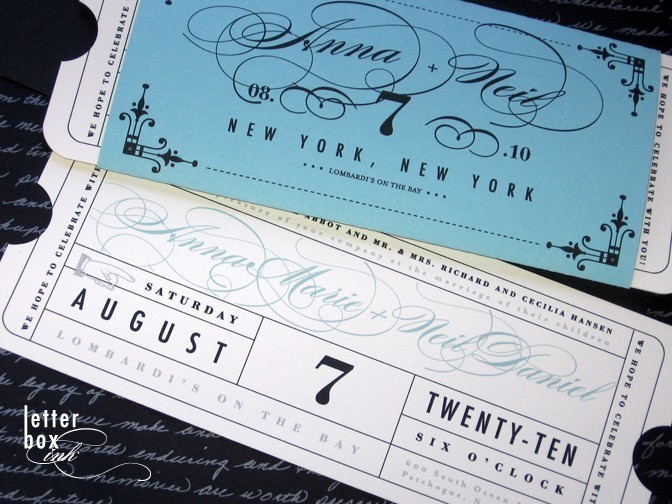 theatre ticket style invite