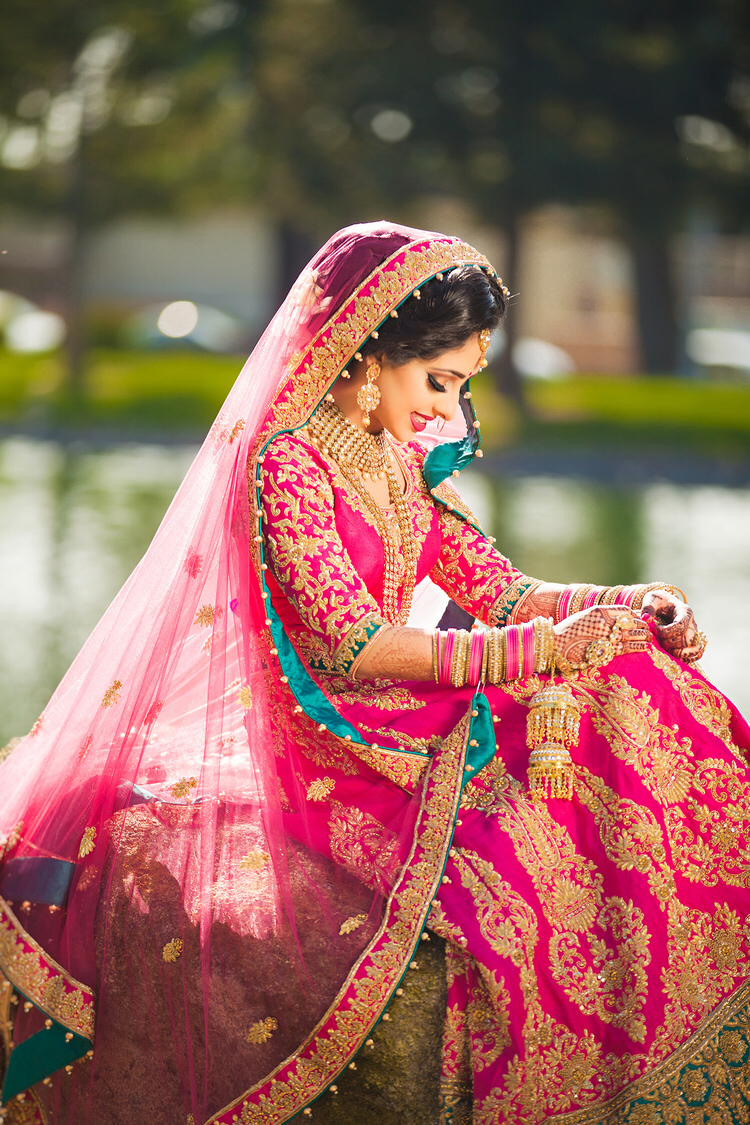 bride in pink